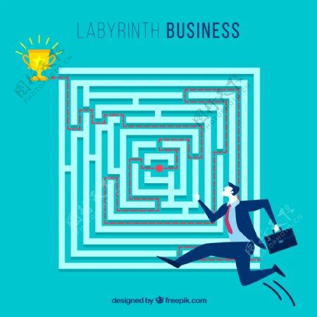 创意闯迷宫的商务男子矢量图