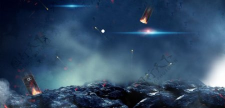 科幻蓝色火焰烟雾背景海报