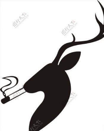 吸烟抽烟的鹿头像剪影