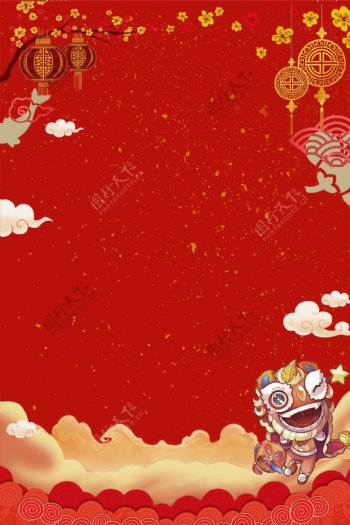 元旦春节灯笼中国结舞狮