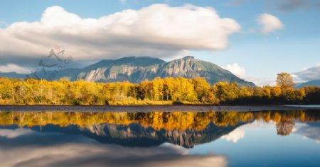 山脉与湖水