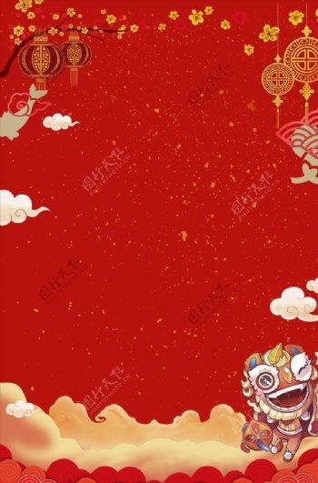 春节灯笼中国结舞狮
