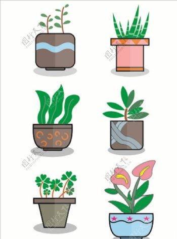手绘卡通植物盆栽