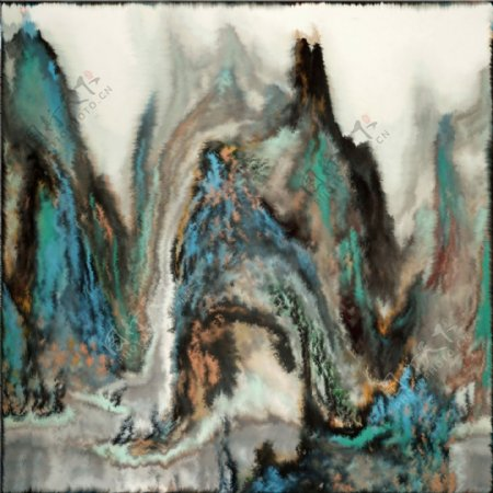抽象水墨山水画