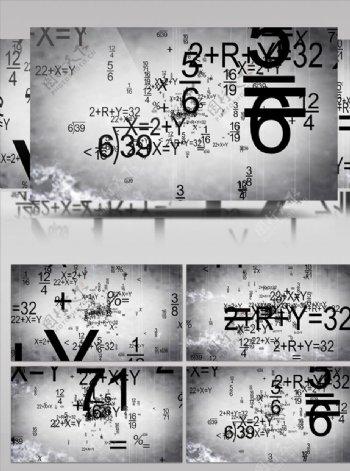 扑面而来的数学算式视频素材