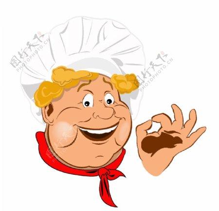 OK手势卡通可爱厨师素材