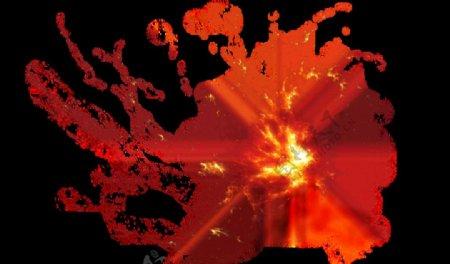 火爆炸火焰背景烟雾黑