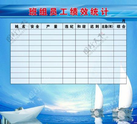 班组员工绩效统计工资表考勤表格