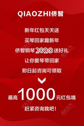 红色新年快乐节日祝福卡片