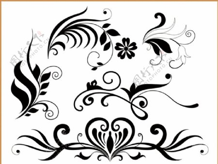 藤蔓树叶植物花纹