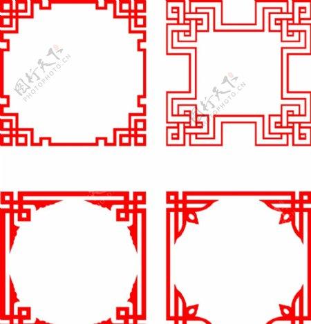 中国风中式窗花纹理CDR矢量