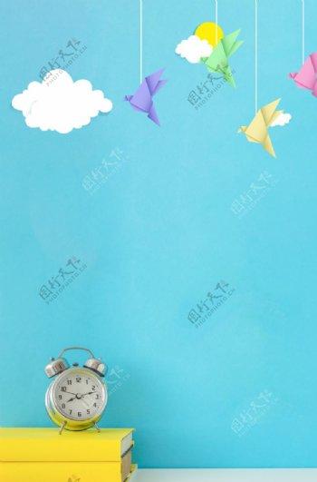 卡通清新云朵蓝色背景素材