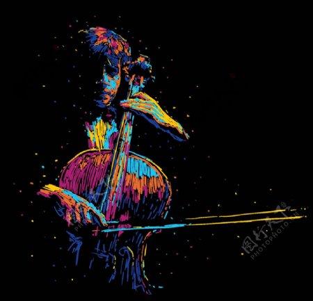 大提琴演奏简笔画