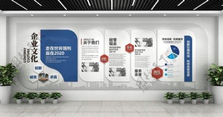 简约蓝色现代科技企业文化墙