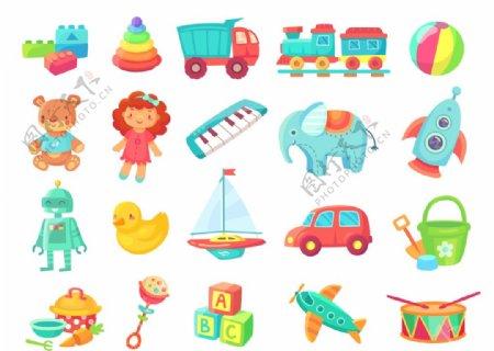 卡通可爱儿童玩具插画