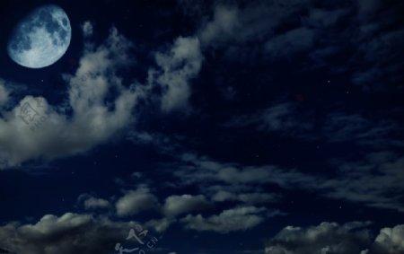 蓝色星空月亮