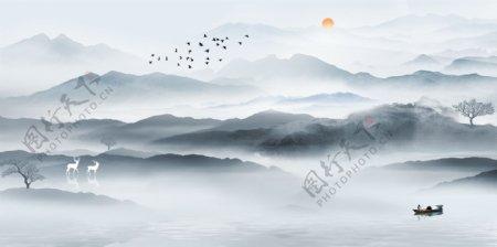 新中式手绘水墨意境山水装饰画