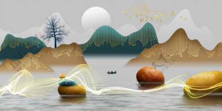 新中式意境山水石头渔船装饰画