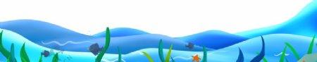 蓝色海洋波浪鱼类