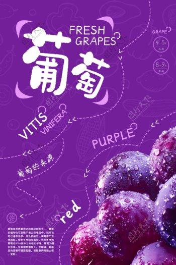 葡萄水果活动促销宣传海报素材