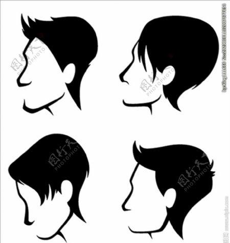 年轻英俊的男人发型矢量合集