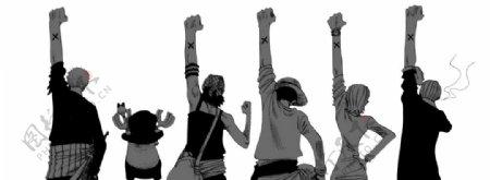 海盗王卡通漫画6个小人背影图片