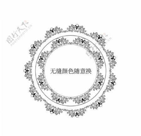 黑色双龙戏珠无缝花边边框图片