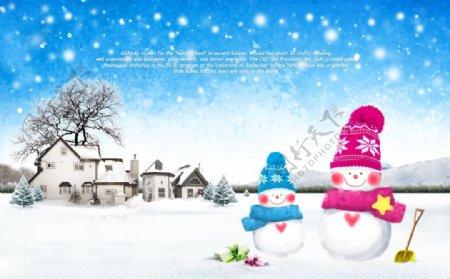 雪人雪天唯美清新浪漫宣传海报