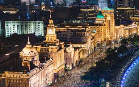 上海国庆70周年外滩灯光夜景