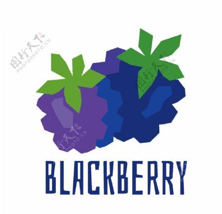矢量卡通黑莓覆盆子
