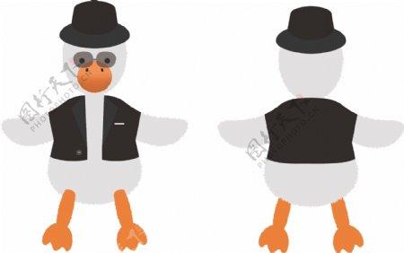 西装鸭黑人抬棺鸭搞笑带墨镜