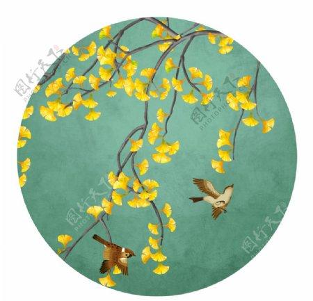 银杏花鸟中式圆形装饰画