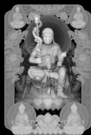 地藏王菩萨灰度图图片