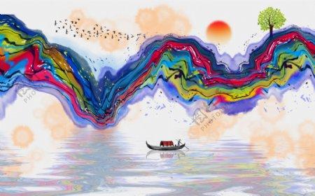 抽象山水背景墙