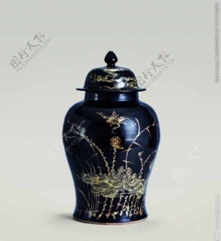 乌金釉绣花将军罐