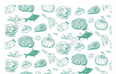 生鲜瓜果蔬菜无缝拼接背景
