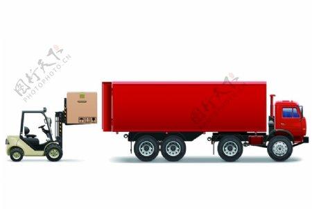 叉车汽车卡通货车装饰素材