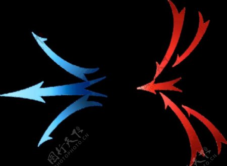 红色蓝色箭头透气素材图片