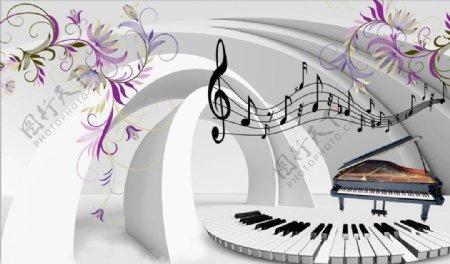 钢琴花藤3D空间背景墙图片