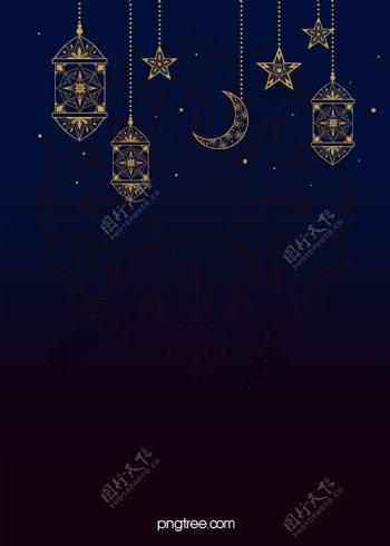蓝色渐变灯星星月亮背景图片