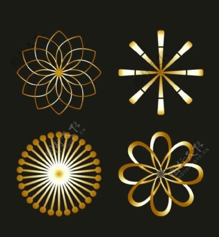 黄金金属花花花朵CDR矢量素材图片