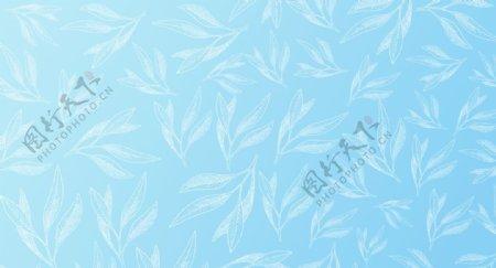 浅蓝色渐变小清新叶子背景图片