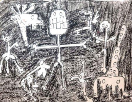儿童画骨头精白骨怪图片