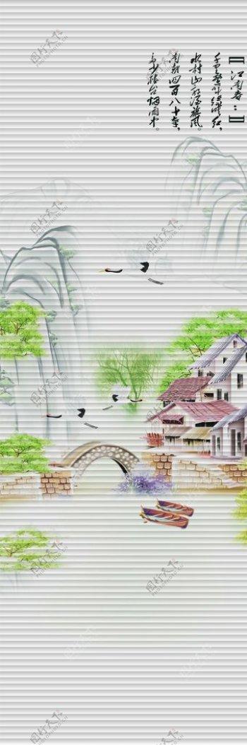 移门写真大图江南春柳树图片