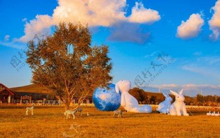 中国马镇旅游度假区大白兔图片