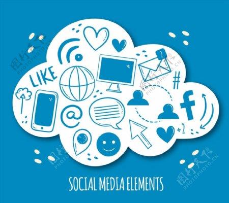 纸质社交媒体云朵图片