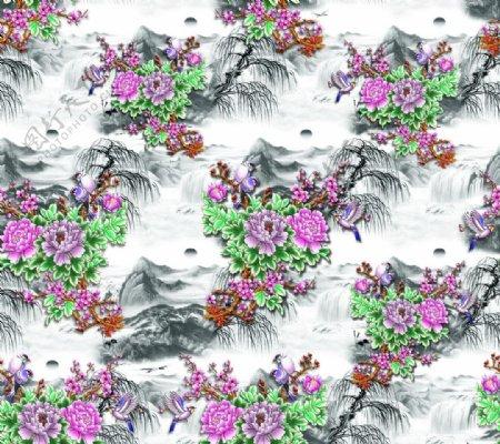 牡丹花山水画图片