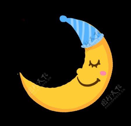 睡觉卡通月亮手绘图图片