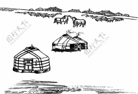 蒙古包蒙古马草原svg矢量图片