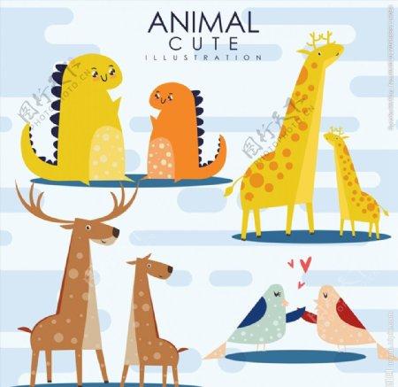 可爱动物设计矢量图片